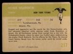 1961 Fleer #217  Mike Hudock  Back Thumbnail