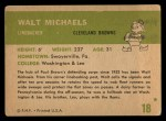 1961 Fleer #18  Walt Michaels  Back Thumbnail