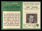 1966 Philadelphia #5  Dan Grimm  Back Thumbnail