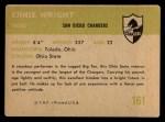 1961 Fleer #161   Ernie Wright Back Thumbnail