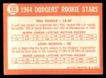 1964 Topps #456   Dodgers Rookie Stars  -  Wes Parker / John Werhas Back Thumbnail