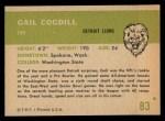 1961 Fleer #83   Gail Cogdill Back Thumbnail