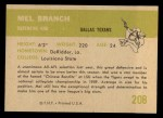 1961 Fleer #208  Mel Branch  Back Thumbnail