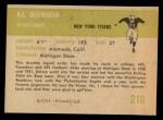 1961 Fleer #210   Al Dorow Back Thumbnail
