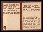 1967 Philadelphia #54  Lee Roy Jordan  Back Thumbnail