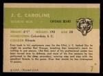 1961 Fleer #7  JC Caroline  Back Thumbnail