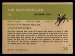 1961 Fleer #34  Jim Mutscheller  Back Thumbnail