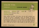 1961 Fleer #17   Galen Fiss Back Thumbnail