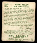 1934 Goudey #42  Johnny Allen  Back Thumbnail