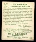 1934 Goudey #28  Ed Coleman  Back Thumbnail