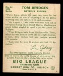 1934 Goudey #44   Tommy Bridges Back Thumbnail