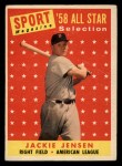 1958 Topps #489  All-Star  -  Jackie Jensen Front Thumbnail