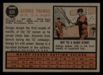 1962 Topps #525  George Thomas  Back Thumbnail