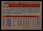 1957 Topps #174  Willie Jones  Back Thumbnail