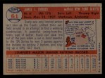 1957 Topps #61   Dusty Rhodes Back Thumbnail