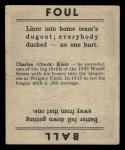 1936 Goudey #20   Chuck Klein Back Thumbnail