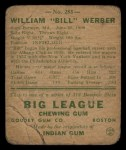 1938 Goudey Heads Up #283   Billy Werber Back Thumbnail