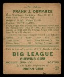 1938 Goudey Heads Up #268  Frank Demaree  Back Thumbnail