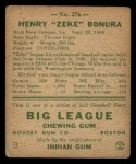 1938 Goudey Heads Up #276   Zeke Bonura Back Thumbnail