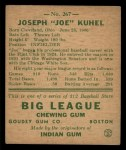1938 Goudey Heads Up #267  Joe Kuhel  Back Thumbnail