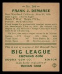 1938 Goudey Heads Up #244  Frank Demaree  Back Thumbnail
