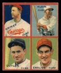 1935 Goudey #11   Kiki Cuyler / Woody English / Burleigh Grimes / Chuck Klein Front Thumbnail