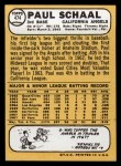 1968 Topps #474   Paul Schaal Back Thumbnail