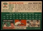 1954 Topps #31   Johnny Klippstein Back Thumbnail