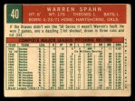 1959 Topps #40 ^B^ Warren Spahn  Back Thumbnail