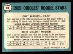 1965 Topps #49  Orioles Rookies  -  Curt Blefary / John Miller Back Thumbnail
