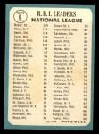 1965 Topps #6  1964 NL RBI Leaders  -  Ken Boyer / Willie Mays / Ron Santo Back Thumbnail
