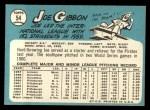 1965 Topps #54   Joe Gibbon Back Thumbnail