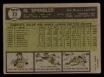 1961 Topps #73  Al Spangler  Back Thumbnail