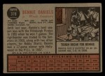 1962 Topps #378   Bennie Daniels Back Thumbnail