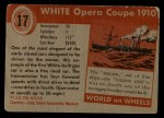 1953 Topps World on Wheels #17  White Opera Coupe 1910  Back Thumbnail