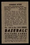 1952 Bowman #164   Connie Ryan Back Thumbnail