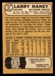 1968 Topps #42  Larry Haney  Back Thumbnail