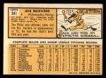 1963 Topps #341 COR Jack Baldschun  Back Thumbnail
