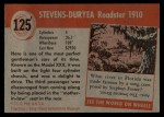 1953 Topps World on Wheels #125  Stevens-Duryea Roadster 1910  Back Thumbnail