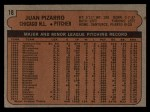 1972 Topps #18 ERR  Juan Pizarro Back Thumbnail