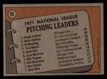 1972 Topps #93  1971 NL Pitching Leaders    -  Steve Carlton / Al Downing / Fergie Jenkins / Tom Seaver Back Thumbnail
