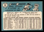 1965 Topps #184 ERR  John Boozer  Back Thumbnail