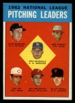 1963 Topps #7  1962 NL Pitching Leaders  -  Don Drysdale / Joe Jay / Art Mahaffey / Billy O'Dell / Bob Purkey / Jack Sanford Front Thumbnail