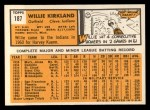 1963 Topps #187  Willie Kirkland  Back Thumbnail