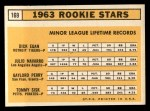1963 Topps #169   Rookie Stars  -  Gaylord Perry / Tommie Sisk / Dick Egan / Julio Navarro Back Thumbnail