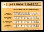 1963 Topps #54 COR  Rookie Stars   -   Nelson Matthews / Harry Fanok / Jack Cullen / Dave DeBusschere Back Thumbnail