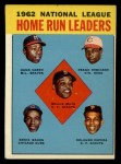 1963 Topps #3  NL HR Leaders  -  Hank Aaron / Willie Mays / Frank Robinson / Ernie Banks / Orlando Cepeda Front Thumbnail