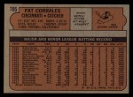 1972 Topps #705   Pat Corrales Back Thumbnail