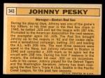 1963 Topps #343   Johnny Pesky Back Thumbnail