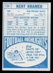 1968 Topps #134  Kent Kramer  Back Thumbnail